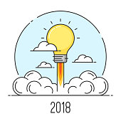 Happy New Year 2018 flat line art style concept. Startup and new ideas. Vector card, banner, icon, illustration. Editable stroke.