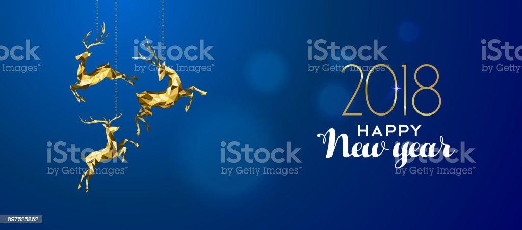 Happy New Year 2018 gold deer ornament decoration vector art illustration