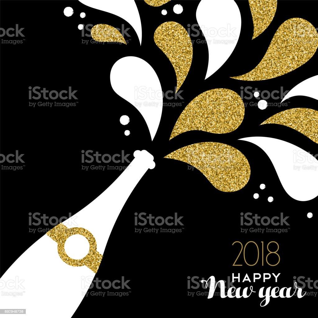 Frohes neues Jahr 2018 Goldglitter Flasche Spritzen – Vektorgrafik