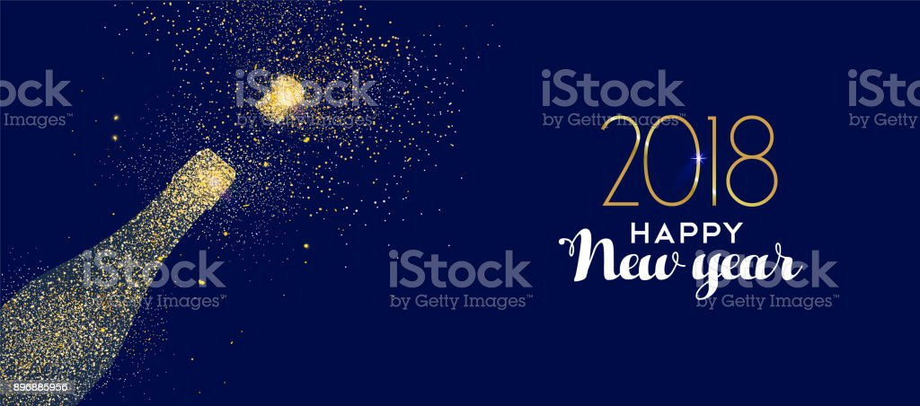 Happy New Year 2018 Goldglitter Champagner Flasche – Vektorgrafik