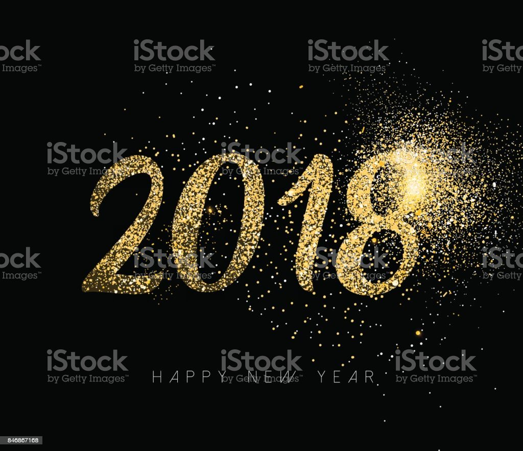 Happy New Year 2018 gold glitter dust holiday card vector art illustration