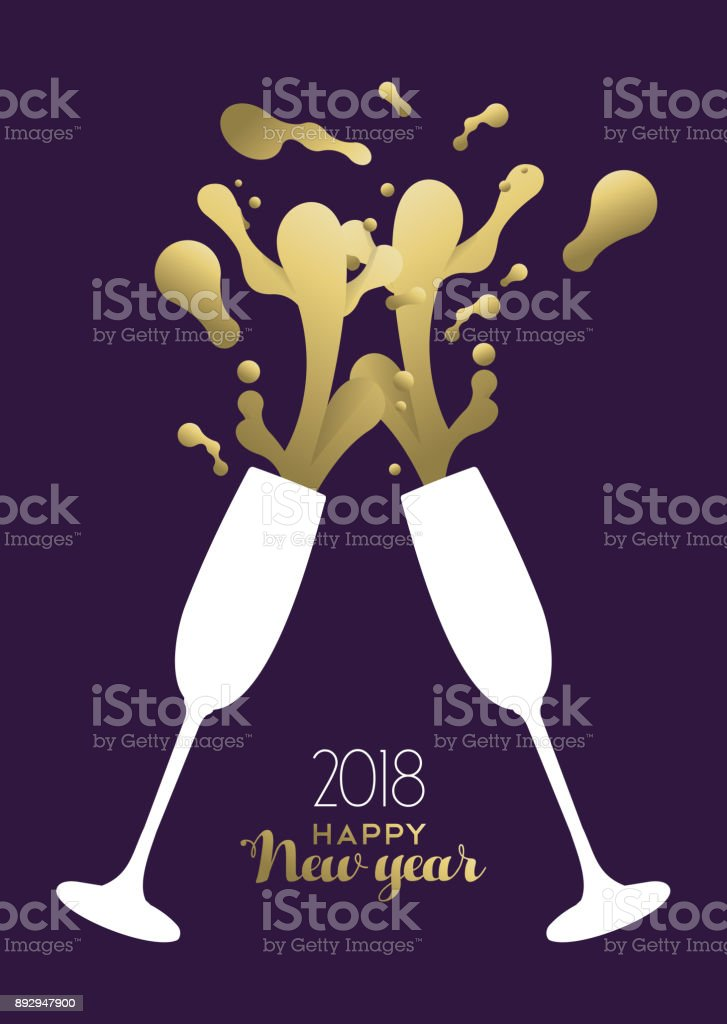 happy new year 2018 gold party drink toast splash royalty free happy new year 2018