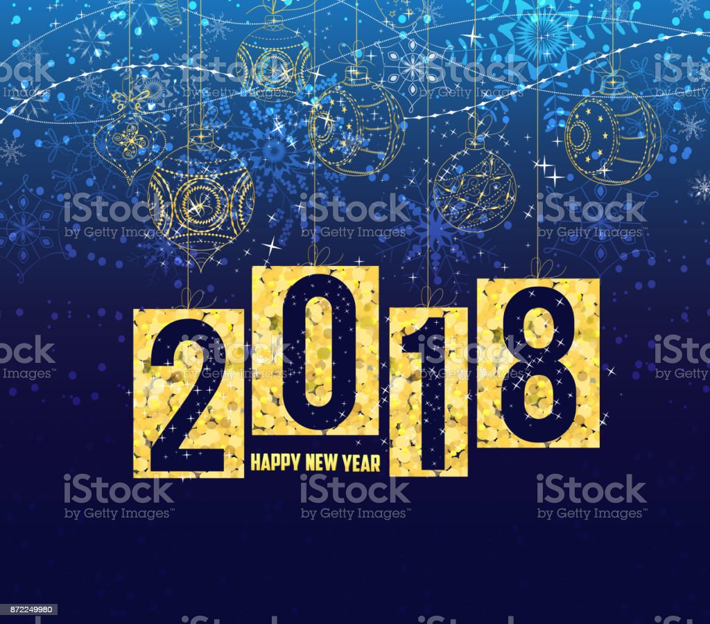 happy new year 2018 gold theme winter christmas background with balls royalty free happy