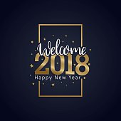 happy new year 2018 golden typography on dark background
