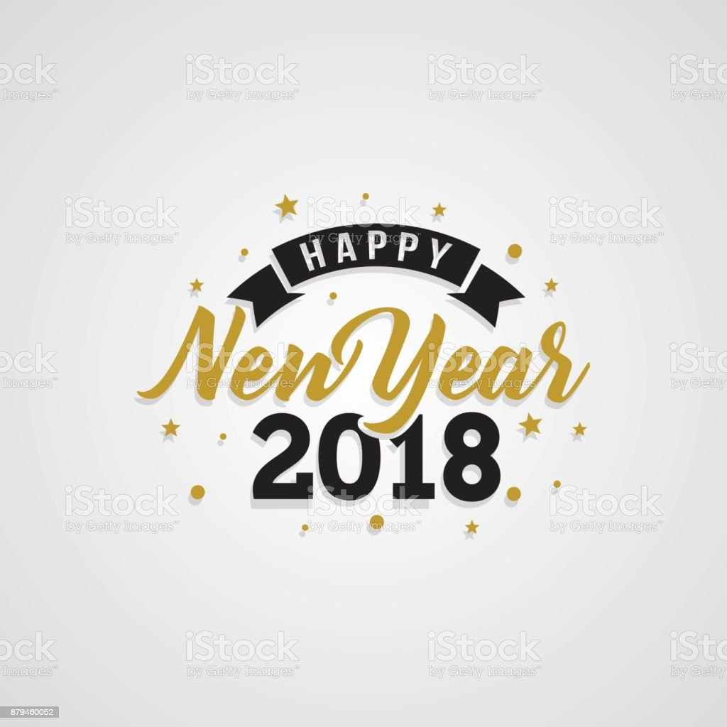 Happy New Year 2018 golden typography on white background. vector art illustration