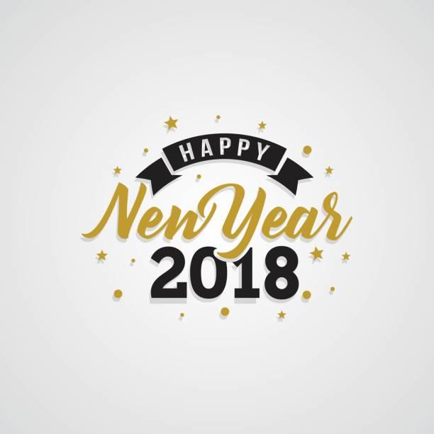 白い背景の幸せな新しい年 2018 黄金タイポグラフィ。 - 大晦日点のイラスト素材/クリップアート素材/マンガ素材/アイコン素材