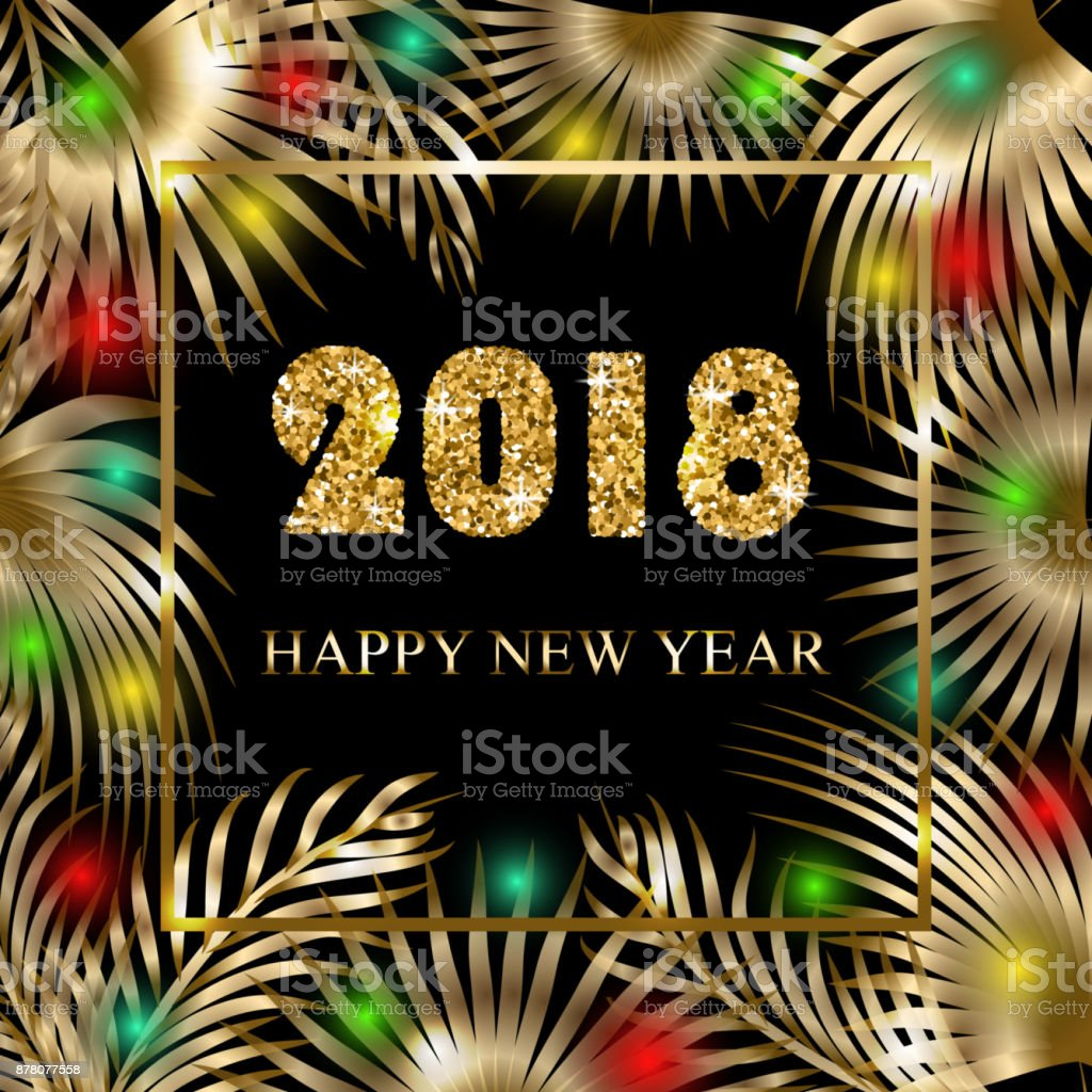 Happy new year 2018 greeting banner with palm trees and garlands happy new year 2018 greeting banner with palm trees and garlands royalty free happy m4hsunfo