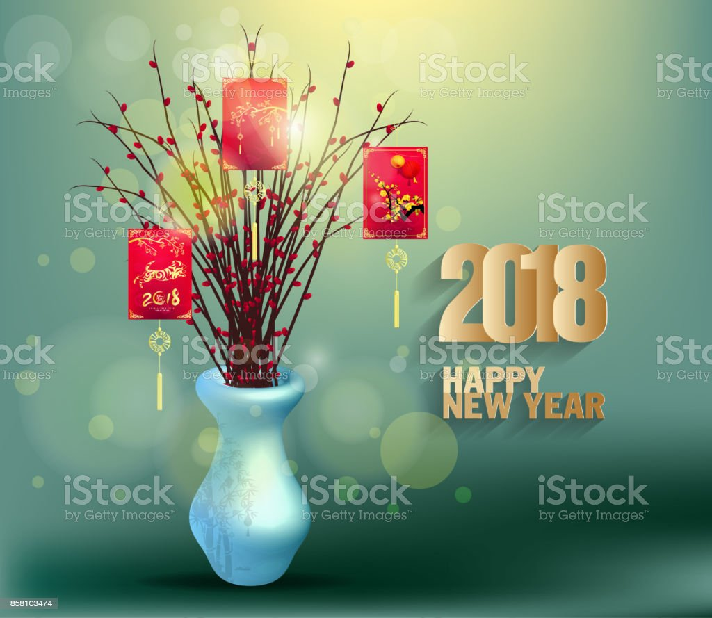 happy new year 2018 greeting card and chinese new year of the dog red envelopes