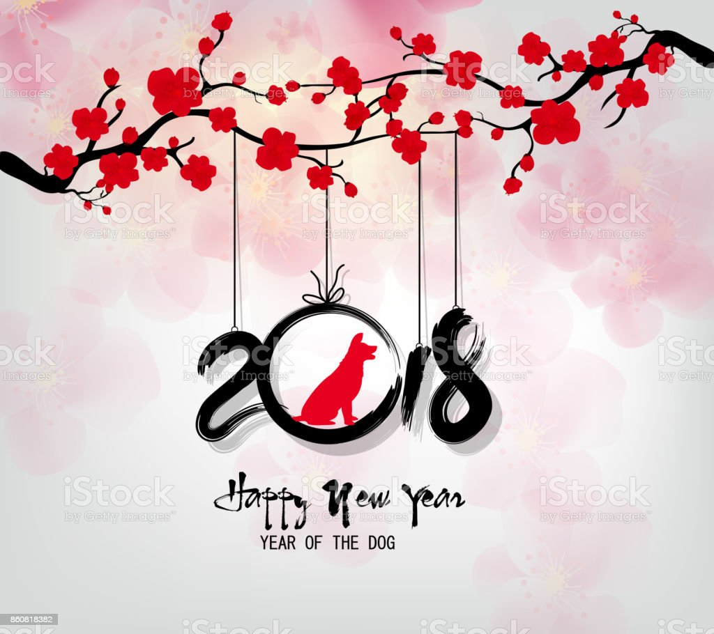 Happy new year 2018 greeting card and chinese new year of the dog happy new year 2018 greeting card and chinese new year of the dog royalty free kristyandbryce Image collections
