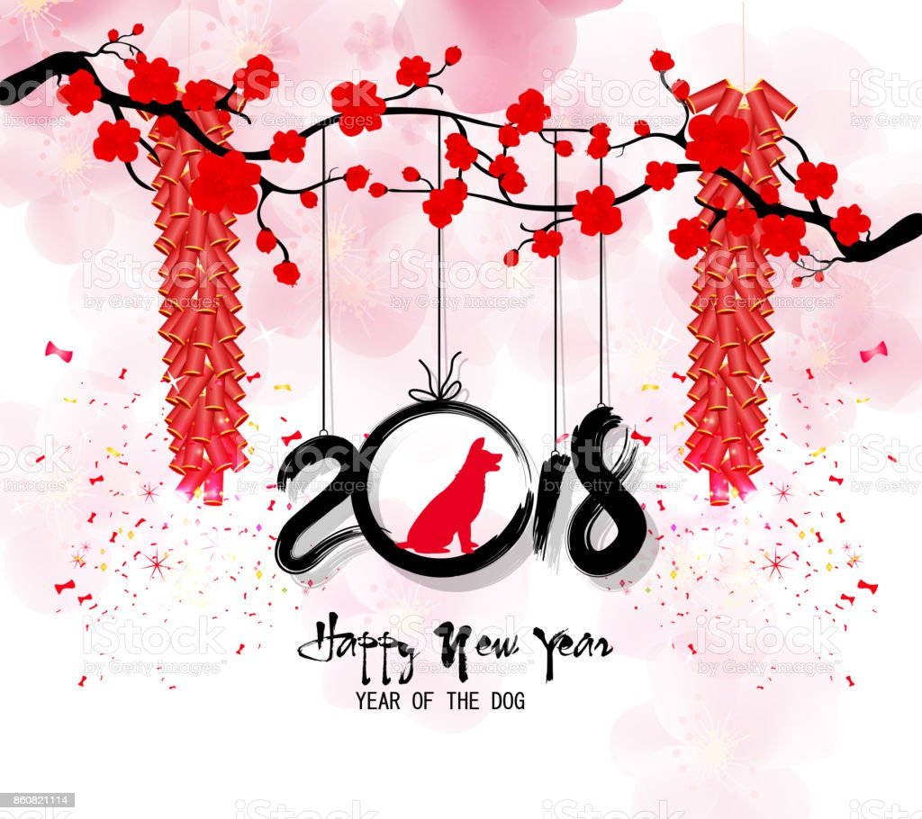 Happy new year 2018 greeting card and chinese new year of the dog happy new year 2018 greeting card and chinese new year of the dog royalty free kristyandbryce Gallery