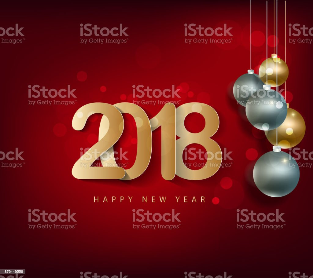 Happy New Year 2018 Greeting Card And Merry Christmas Chinese New