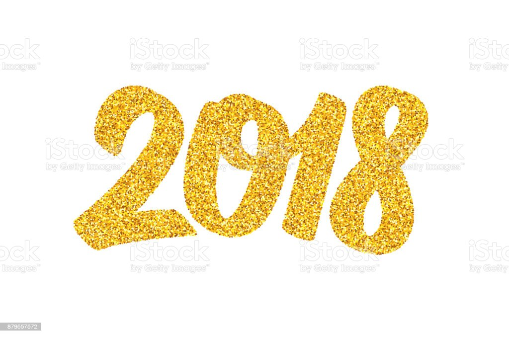 Happy New Year 2018 Greeting Card Design Template With Golden Text
