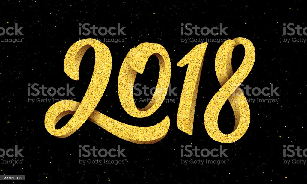 happy new year 2018 greeting card design with gold 3d typography on black background with glitters