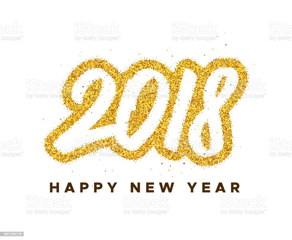 happy new year 2018 greeting card design with golden