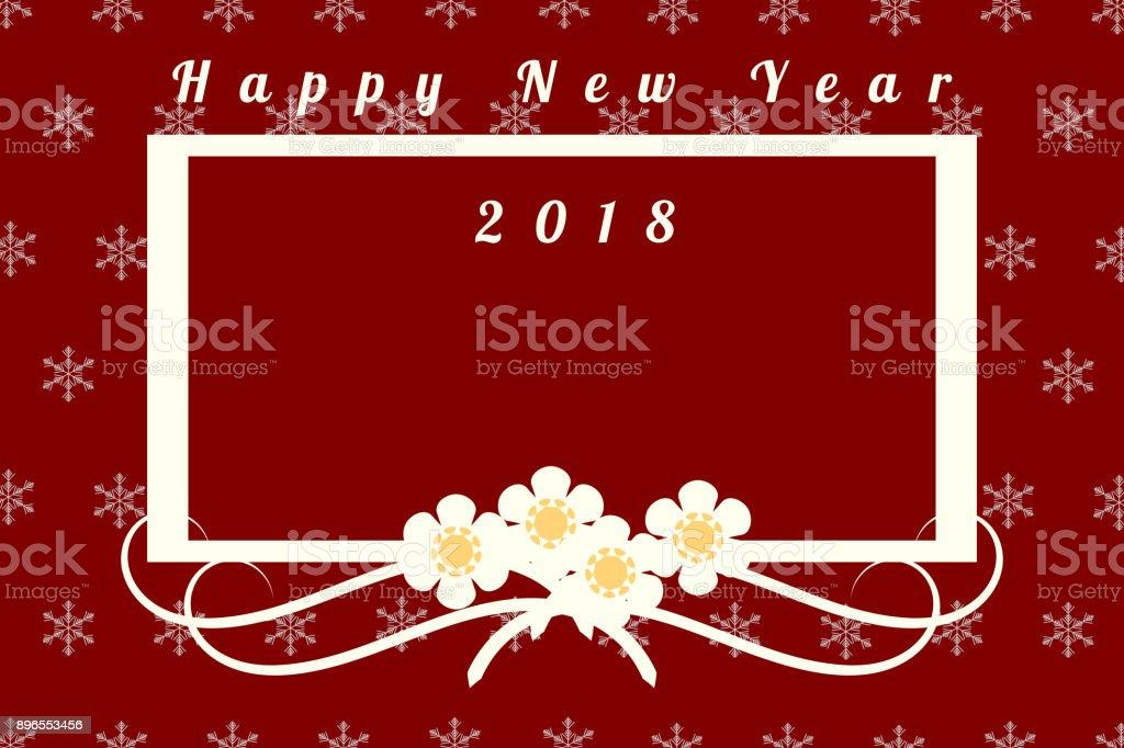 Happy New Year 2018 Grußkarte Abbildung Mit Schöne Blume Und Rahmen ...