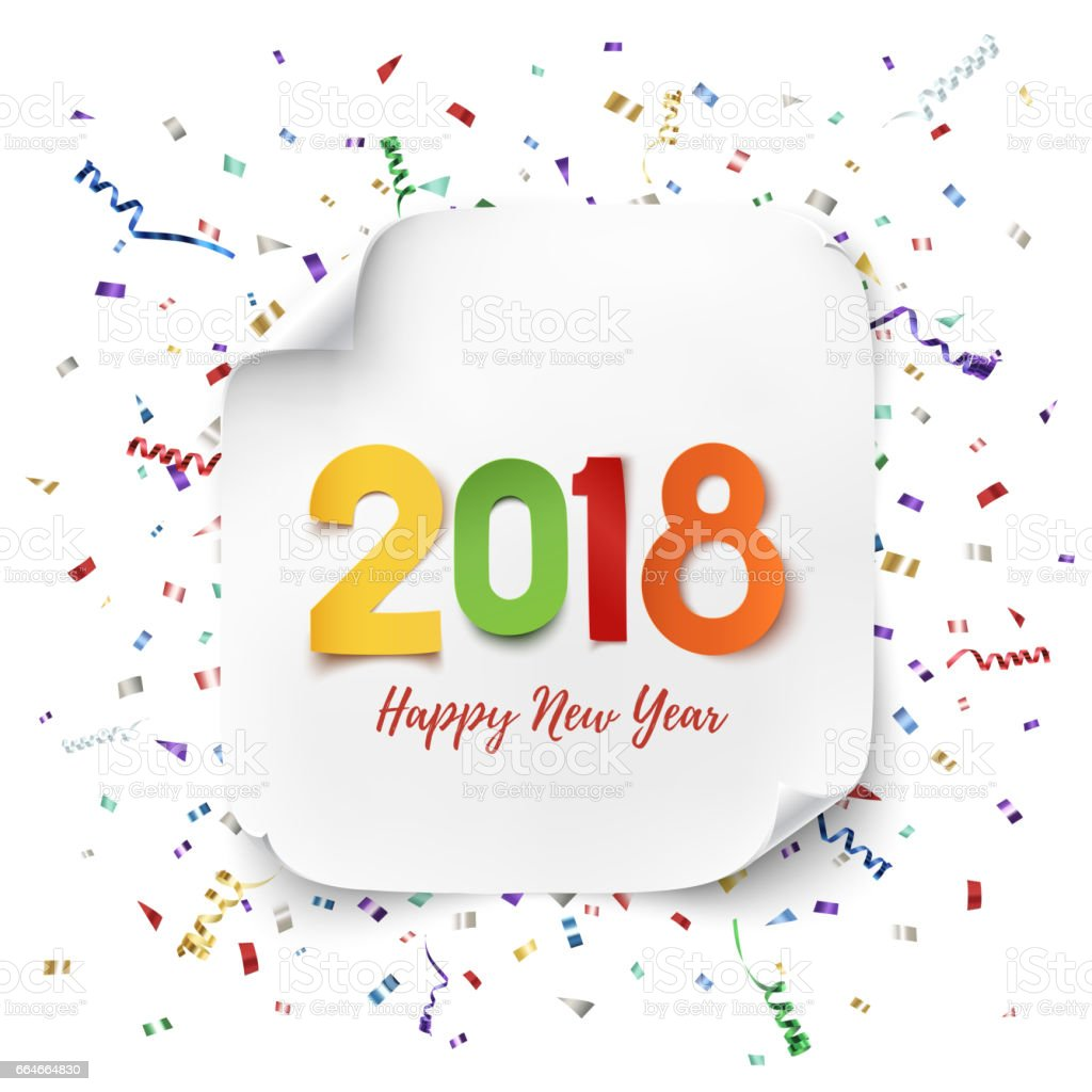 Happy New Year 2018 Greeting Card. Royalty Free Happy New Year 2018  Greeting Card