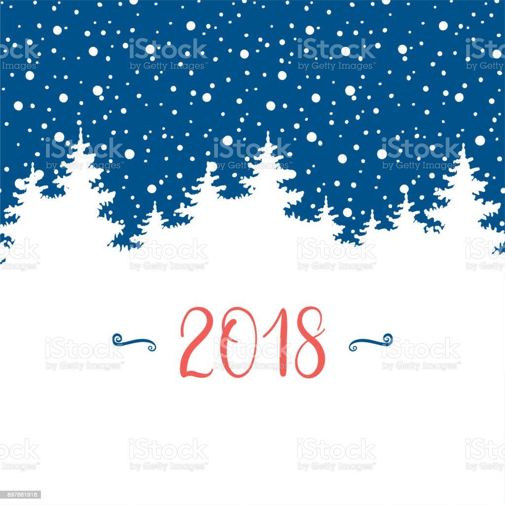 Happy New Year 2018 Greeting Card Vector Winter Holidays Backgrounds ...