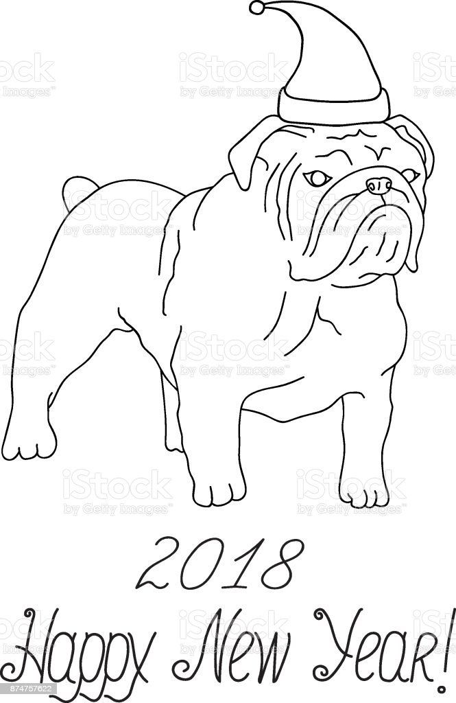 Happy New Year 2018 Greeting Card White And Black English Bulldog In ...