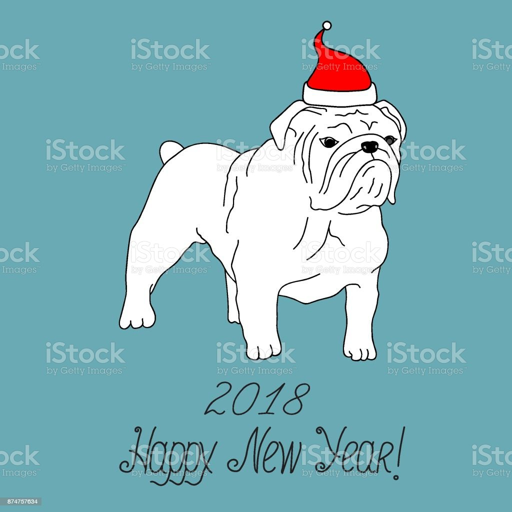 Happy New Year 2018 Greeting Card White English Bulldog In Santa ...