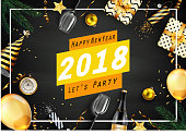 Vector illustration of Happy new year 2018 greeting card with elements