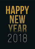 Happy New Year 2018 greeting card with golden text - Illustration