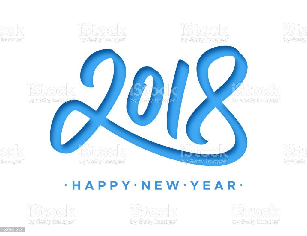 Happy New Year 2018 Grußkarte Mit Papier Schneiden Ziffern Auf ...