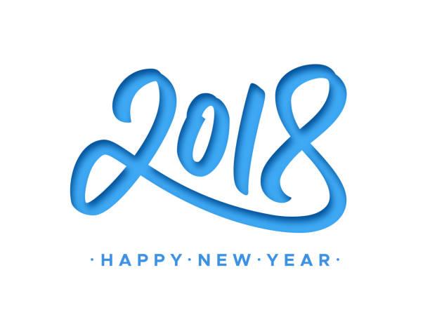 stockillustraties, clipart, cartoons en iconen met happy new year 2018 wenskaart met papier knippen cijfers op een witte achtergrond. vector carving art stijl illustratie voor uitnodiging, agenda of banner sjabloon voor chinese jaar van de hond - 2018