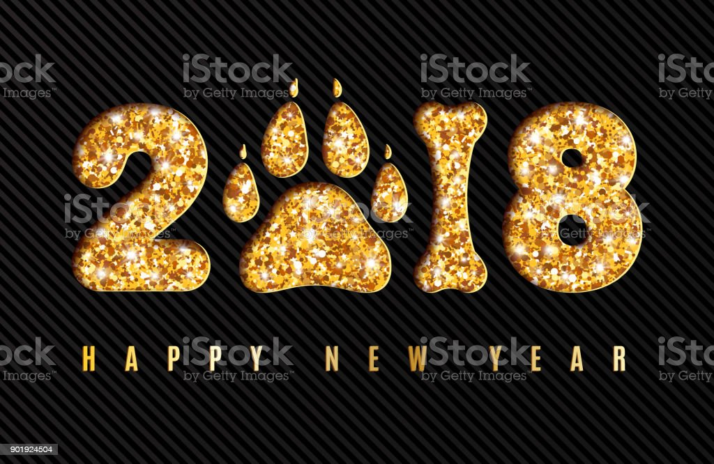 happy new year 2018 greeting card with shining gold numbers dog paw print and bone