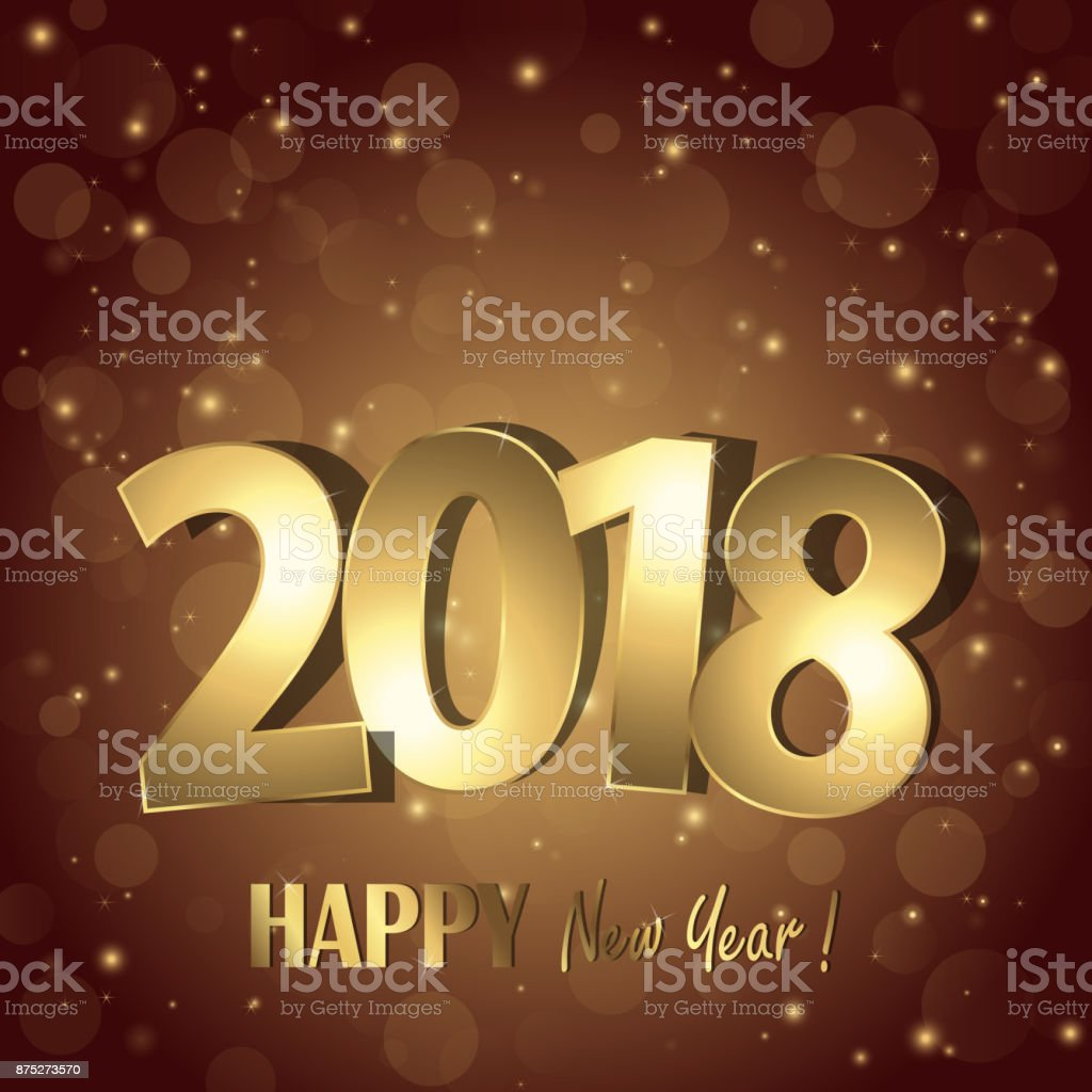 Happy New Year 2018 Greetings Background Stock Vector Art More