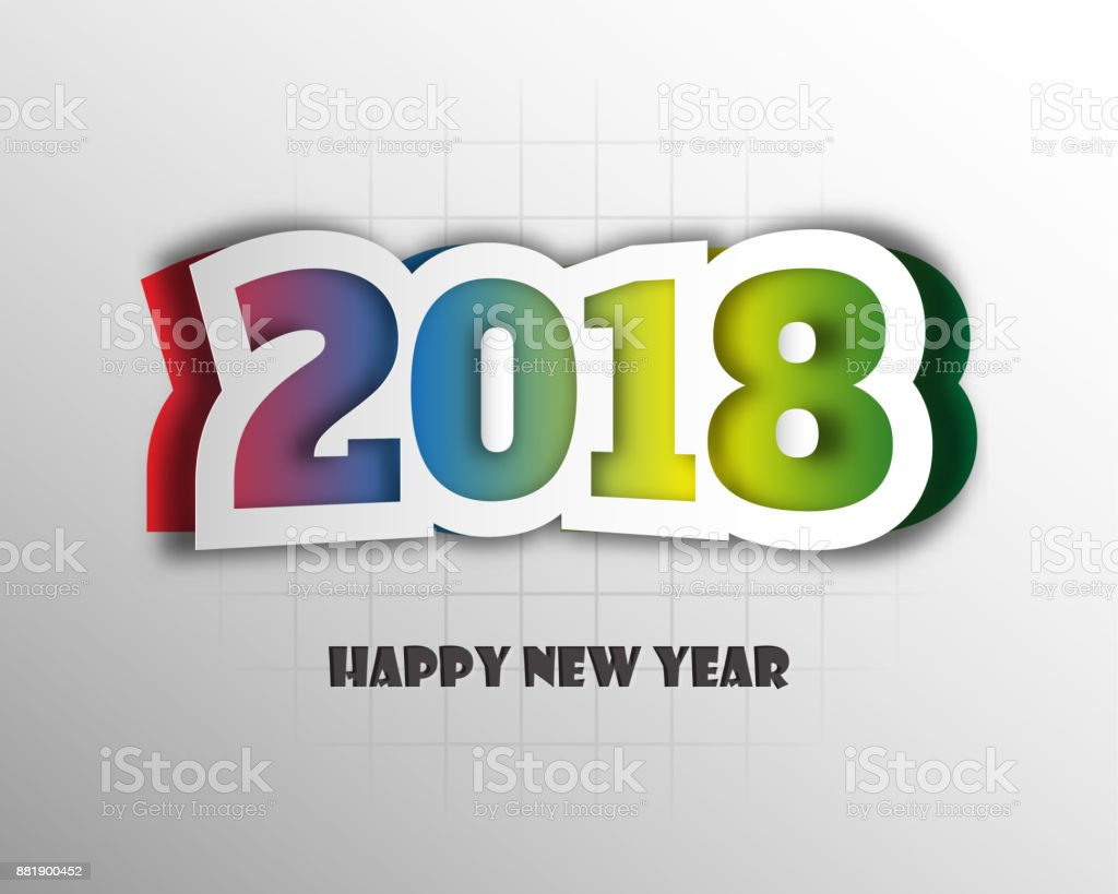 Happy New Year 2018 Greetings Card Colorful Design Vector ...