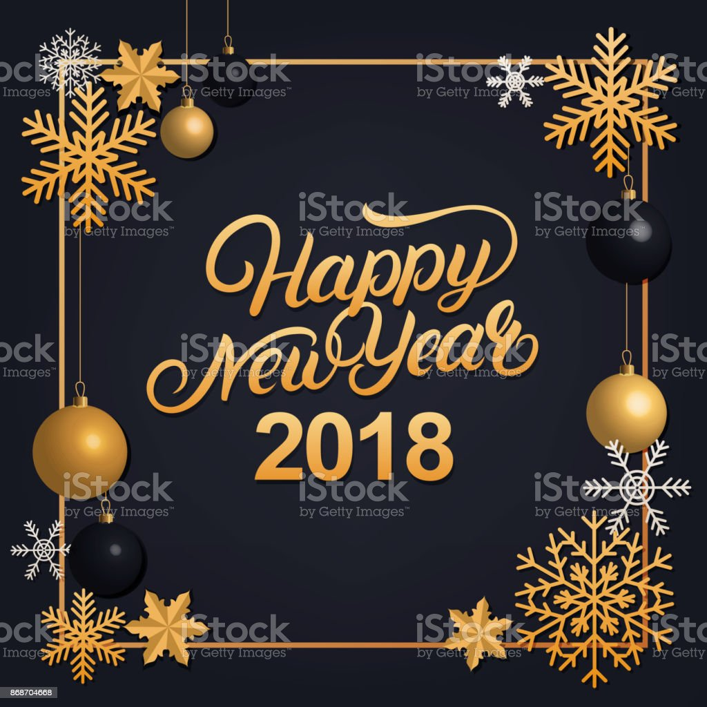 Happy New Year 2018 hand written lettering with golden decoration ornament. vector art illustration