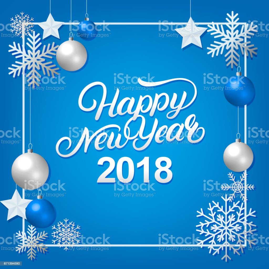 Happy New Year 2018 hand written lettering with silver decoration ornament. vector art illustration