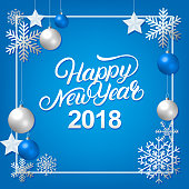 Happy New Year 2018 hand written lettering with silver decoration ornament.