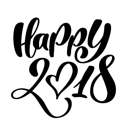Happy New Year 2018 hand-lettering text. Handmade vector Christmas calligraphy. Decor for greeting card, photo overlays, t-shirt print, flyer, poster design