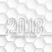 Happy new year 2018 with space for your text. Creative greeting card with a long shadows style and an abstract background of hexagons. The layers are named to facilitate your customization. Vector Illustration (EPS10, well layered and grouped). Easy to edit, manipulate, resize or colorize. Please do not hesitate to contact me if you have any questions, or need to customise the illustration. http://www.istockphoto.com/portfolio/bgblue