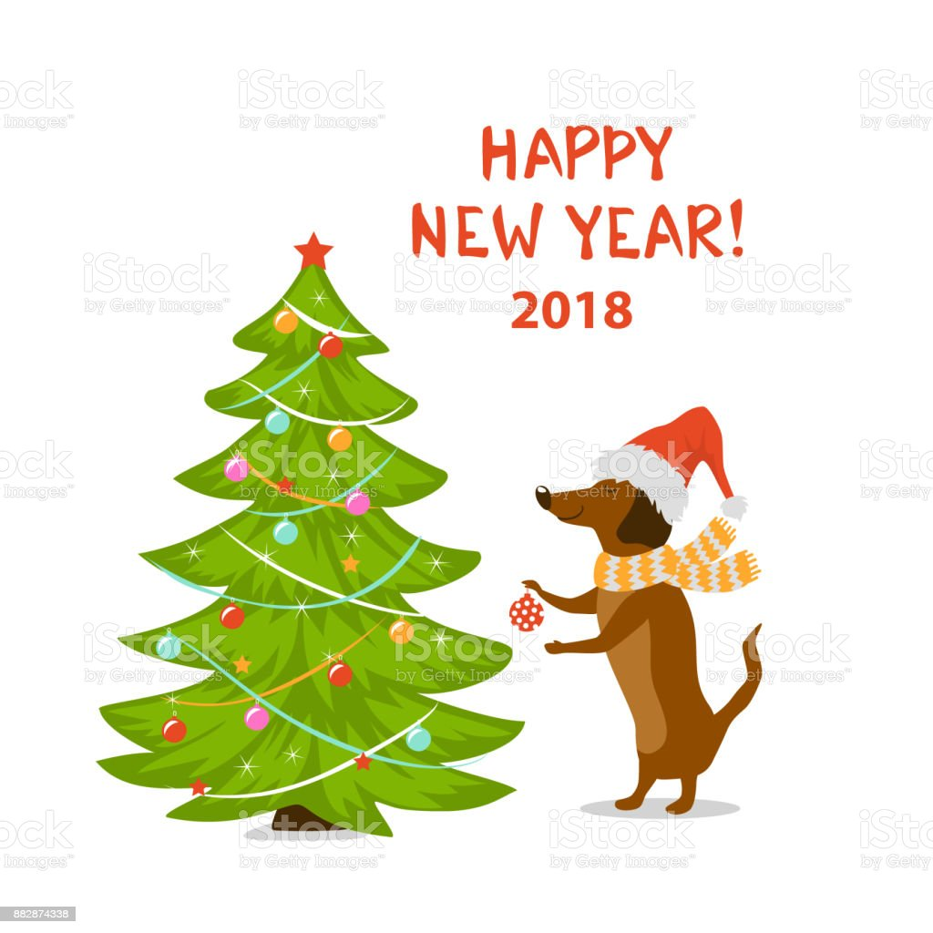 frohes neues jahr 2018 urlaub cartoon hund dackel schm cken weihnachtsbaum stock vektor art und. Black Bedroom Furniture Sets. Home Design Ideas