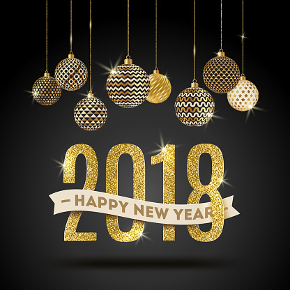 Happy New Year 2018 - holidays vector illustration