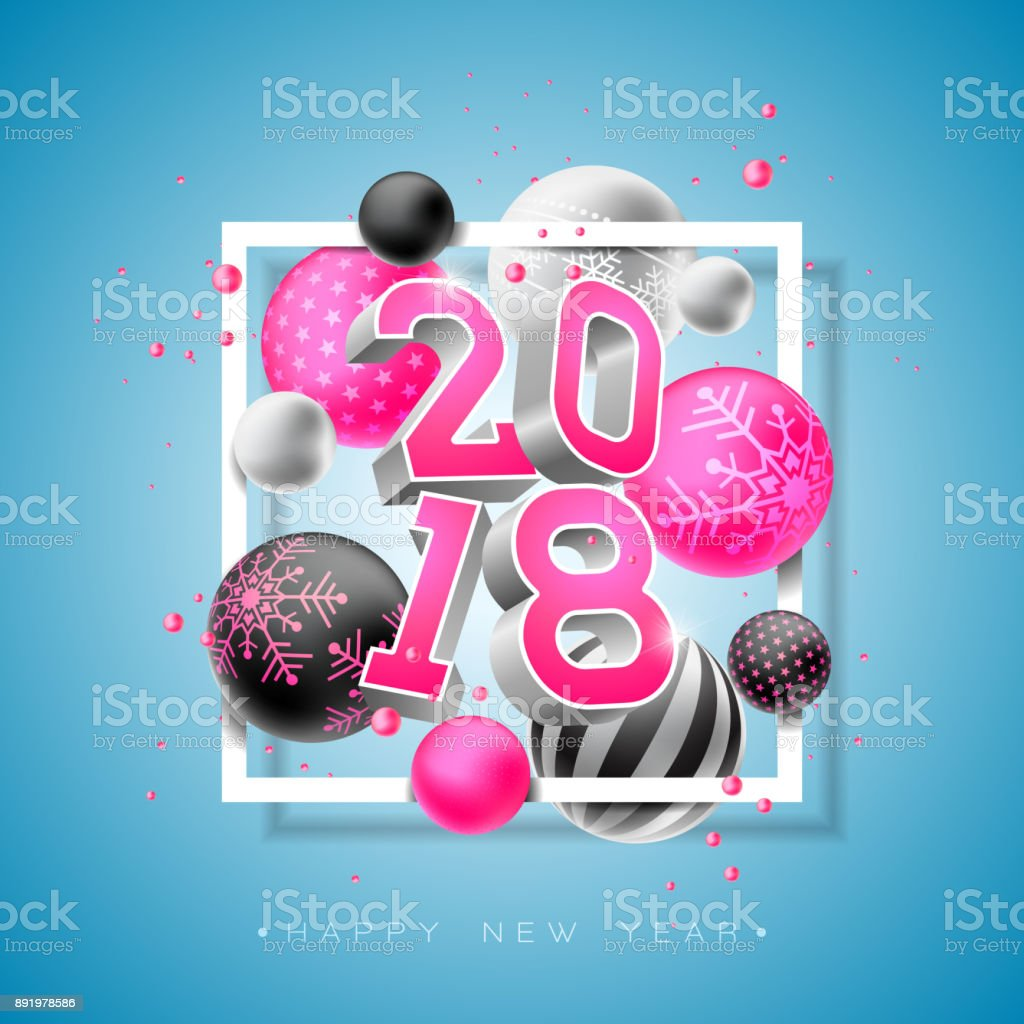 happy new year 2018 illustration with bright 3d number and ornamental ball on blue background