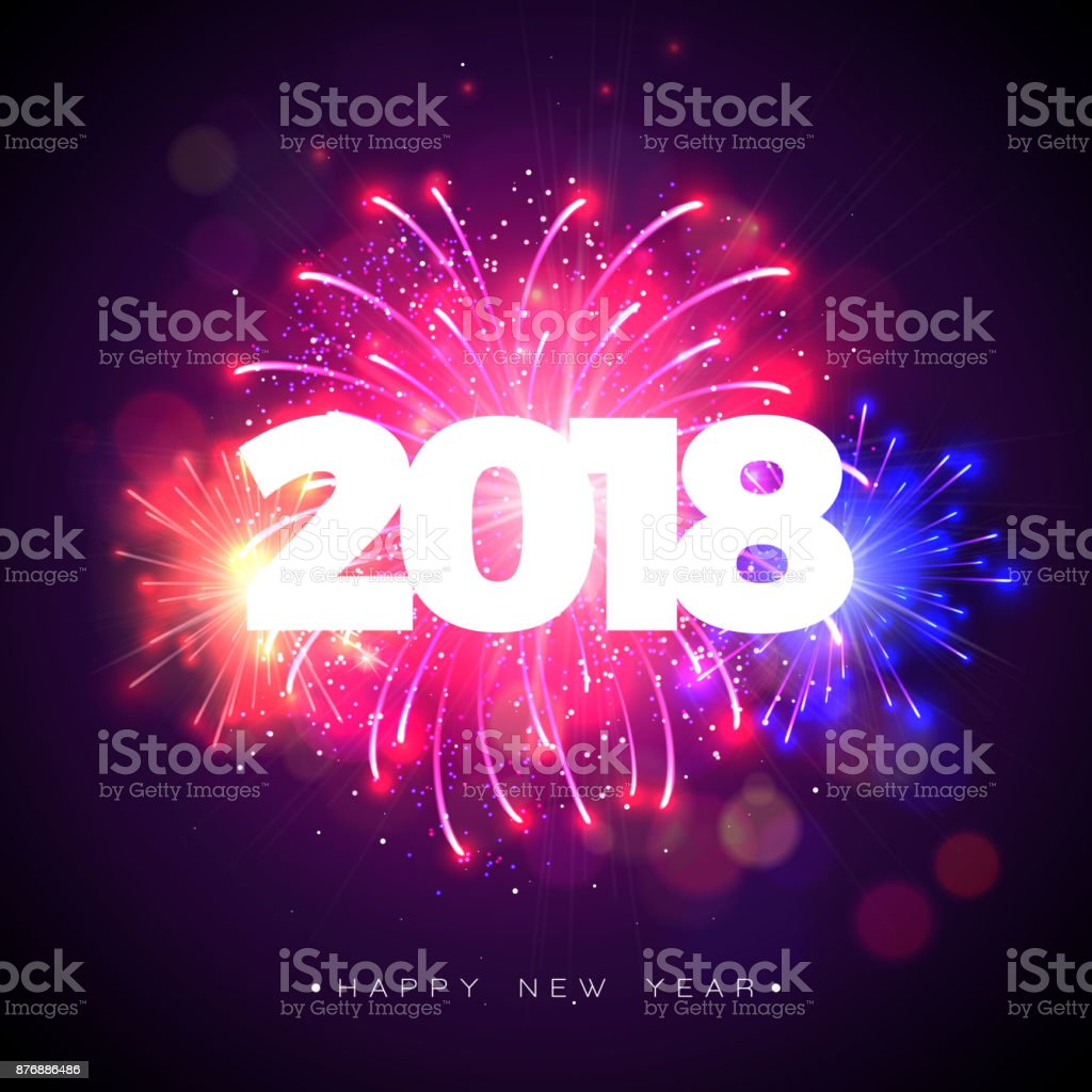 Happy New Year 2018 Illustration With Firework And 3d Text On ...