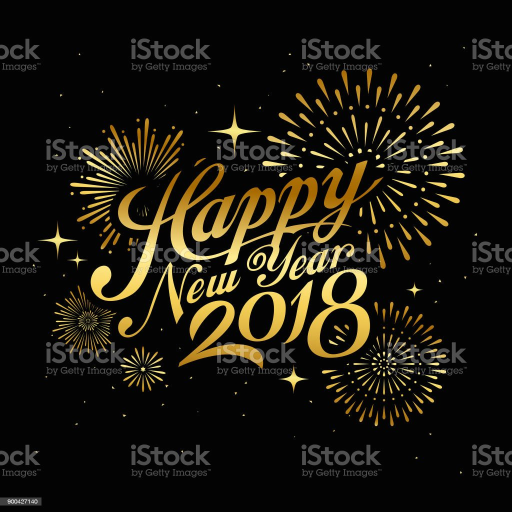 happy new year 2018 message with firework gold at night royalty free happy new year