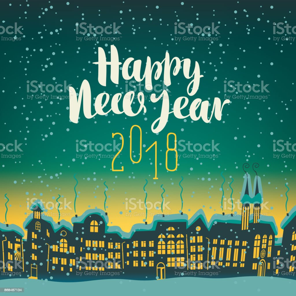 happy new year 2018 on a background of night city royalty free happy new year