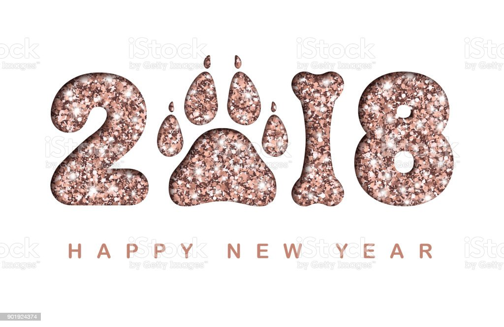 happy new year 2018 paper cut greeting card with shining rose gold numbers dog paw
