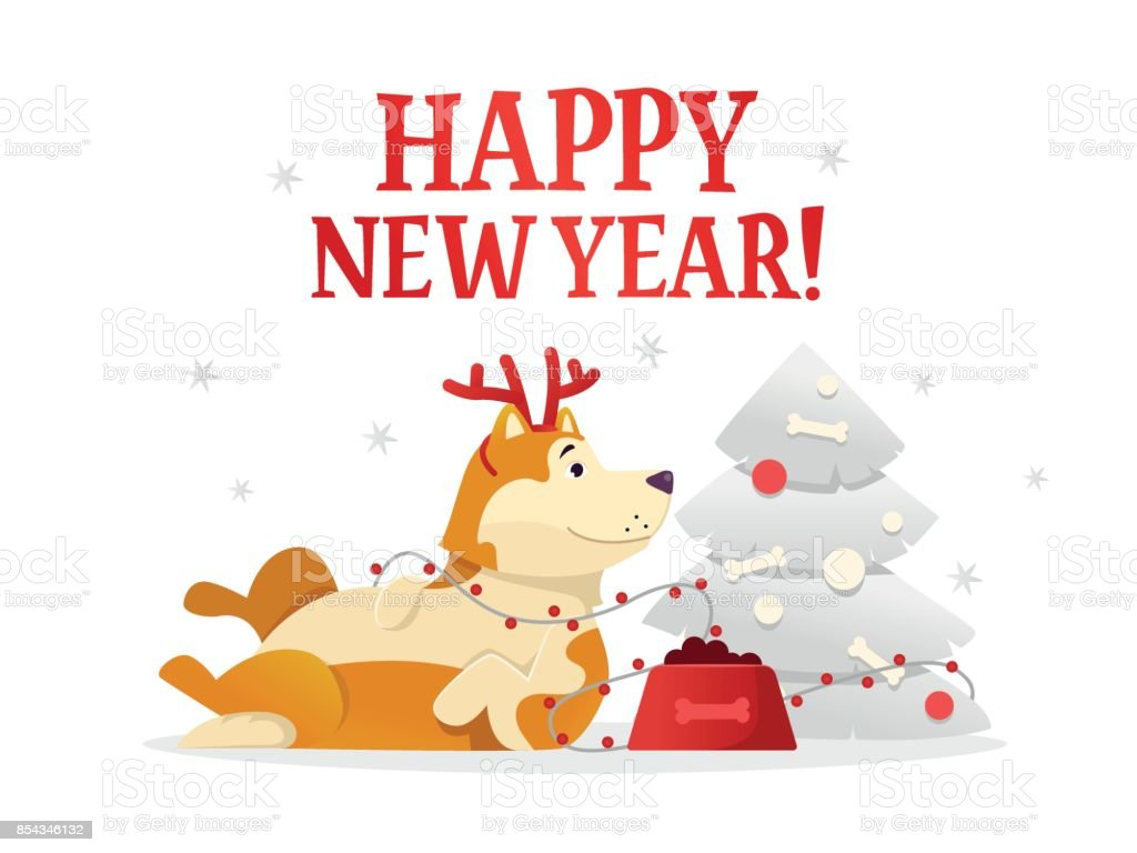 happy new year 2018 postcard template with the cute yellow dog lying near the christmas tree