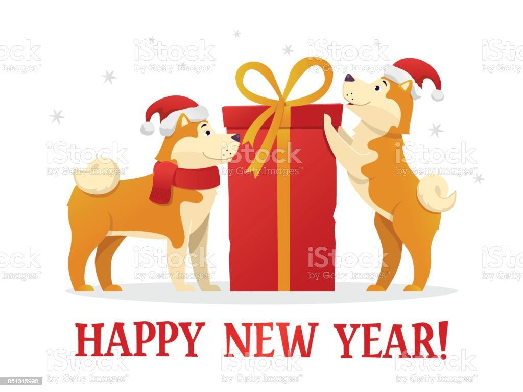Happy New Year 2018 Postcard Template With Two Cute Yellow Dogs With