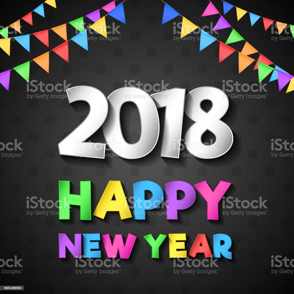 Happy New Year 2018 Plakat Mit Gruß Vektor Stock Vektor Art und mehr ...