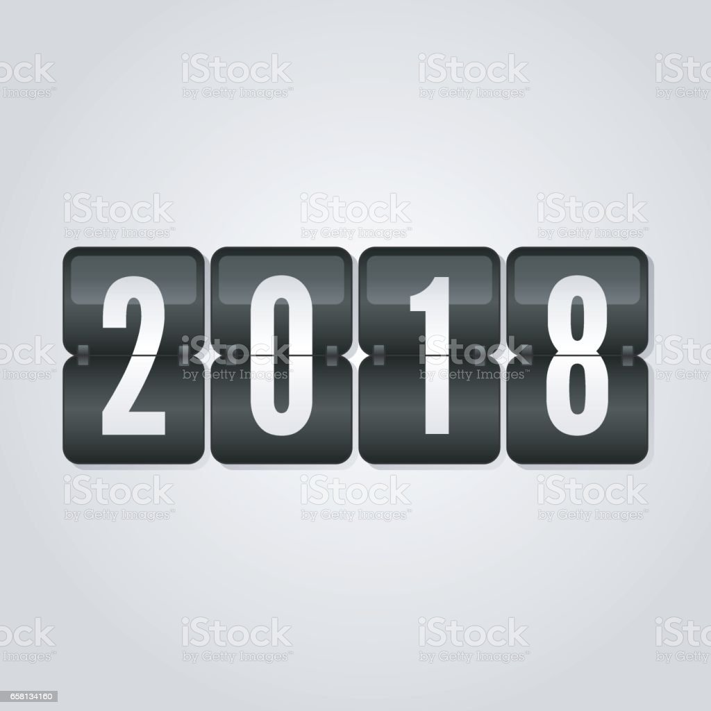 Happy New Year 2018 scoreboard congratulation, flip symbol on grey gradient background royalty-free happy new year 2018 scoreboard congratulation flip symbol on grey gradient background stock vector art & more images of 2018