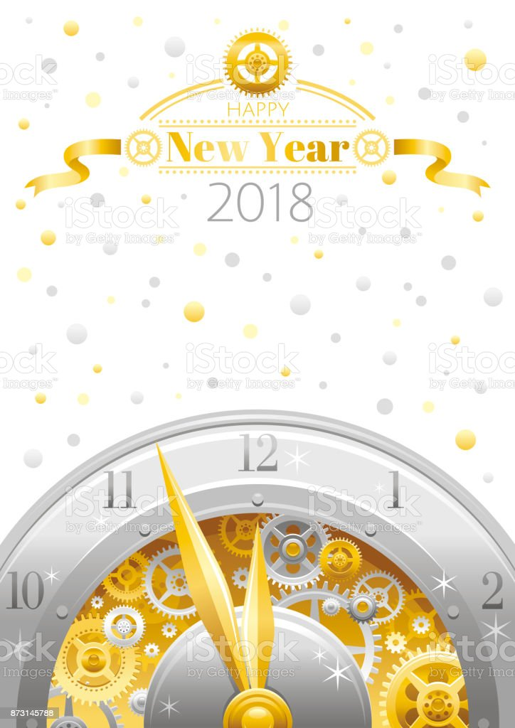 Happy New Year 2018 Silver Golden Icon Icon Vector Poster With Clock ...