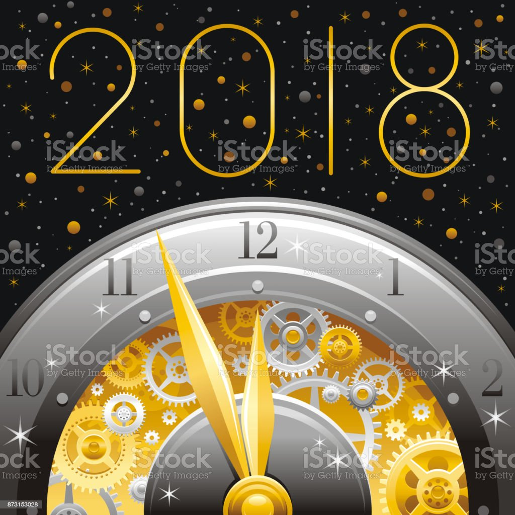 happy new year 2018 silver golden icon icon vector poster with clock gears