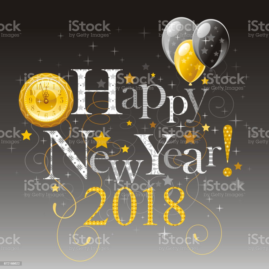 Happy New Year 2018 Silver Golden Symbol Icon Vector Poster With