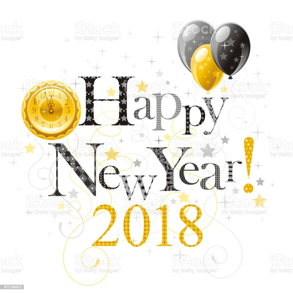 happy new year 2018 symbol border vector poster with clock balloons abstract holiday
